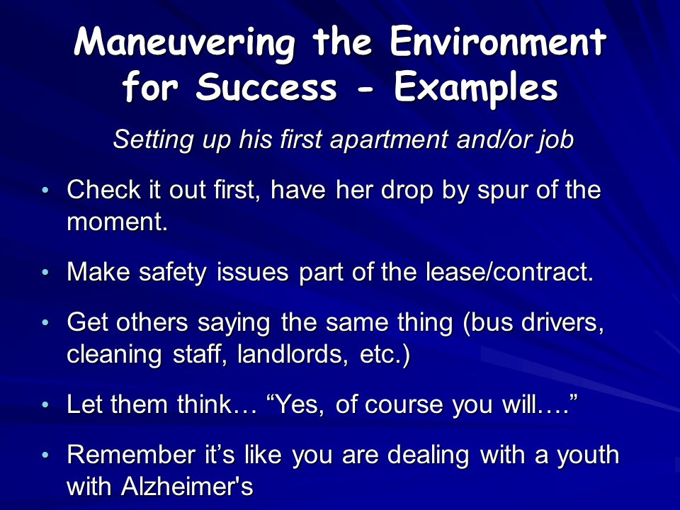Maneuvering the Environment for Success - Examples