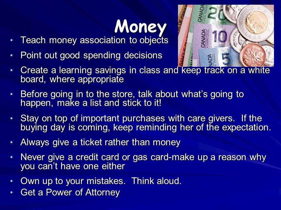 Money Teach money association to objects