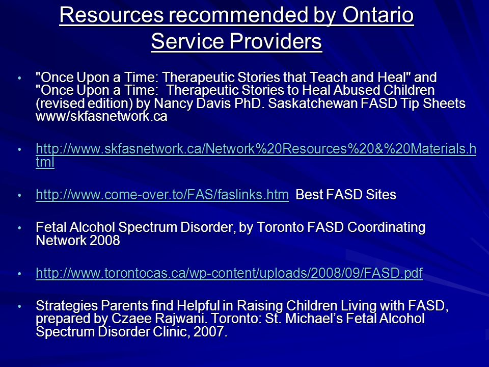 Resources recommended by Ontario Service Providers