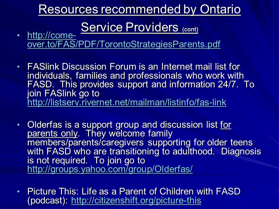 Resources recommended by Ontario Service Providers (cont)