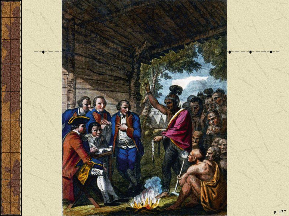 INDIAN-BRITISH DIPLOMACY IN THE OHIO COUNTRY, 1764 A brief truce during Pontiac's War brought Indian and British leaders together to talk peace. Here a Native American speaker presents a wampum belt to his counterparts. (Library of Congress)