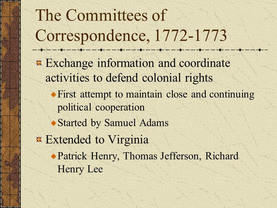 The Committees of Correspondence, 1772-1773