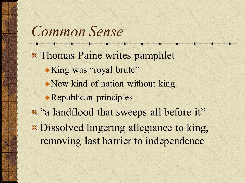 Common Sense Thomas Paine writes pamphlet