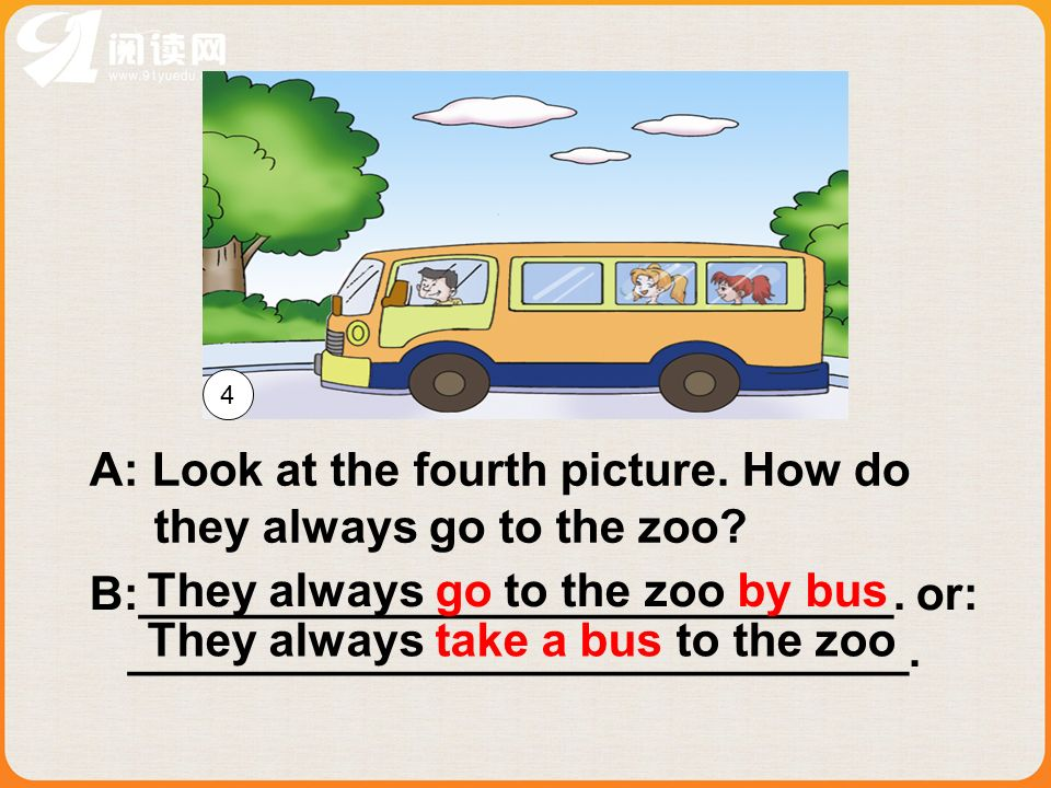 A: Look at the fourth picture. How do they always go to the zoo