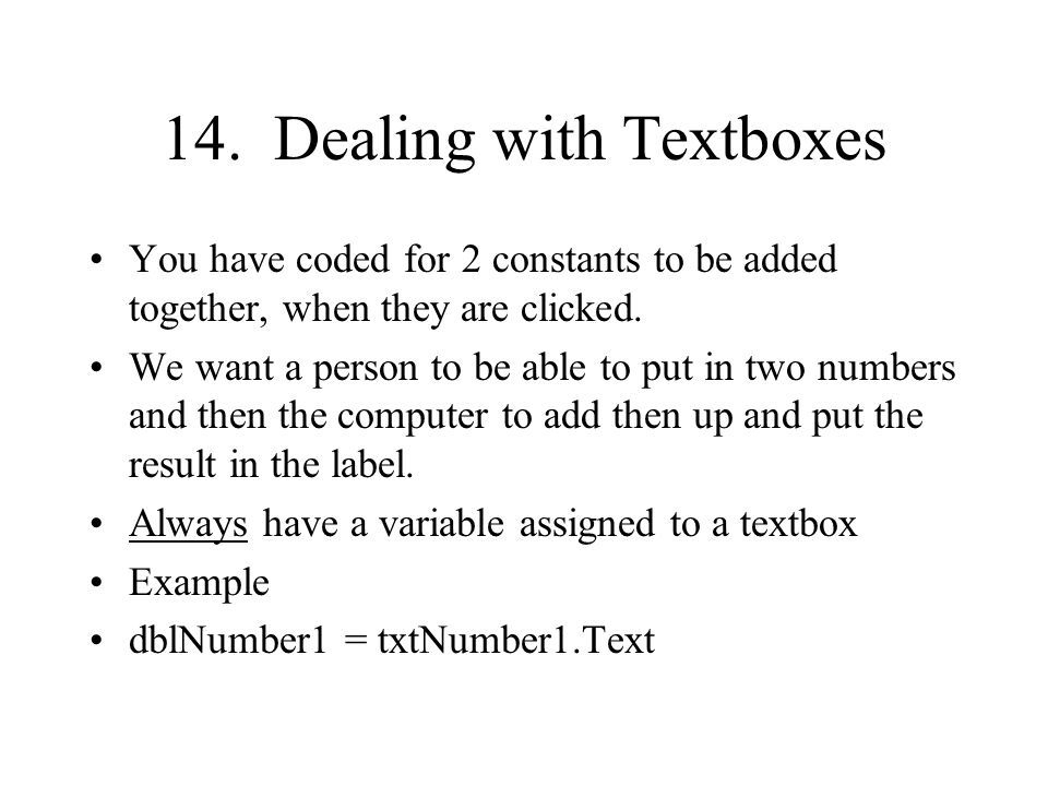 14. Dealing with Textboxes