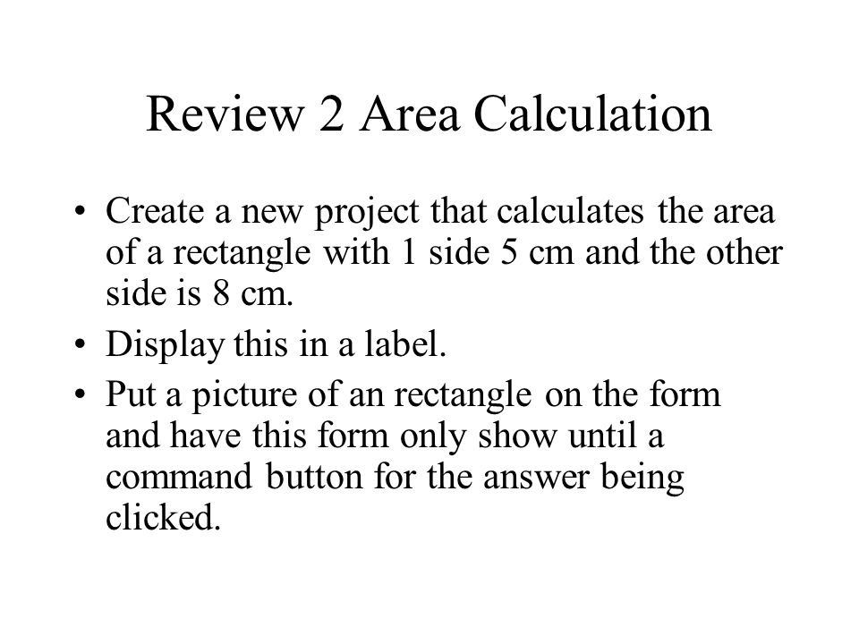 Review 2 Area Calculation