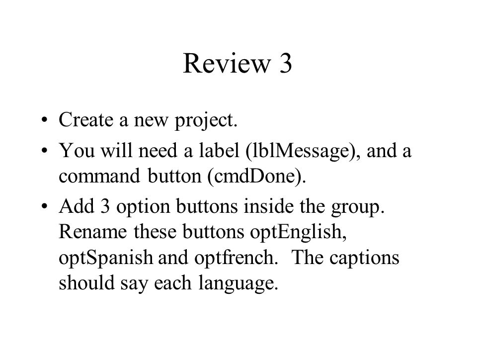 Review 3 Create a new project.
