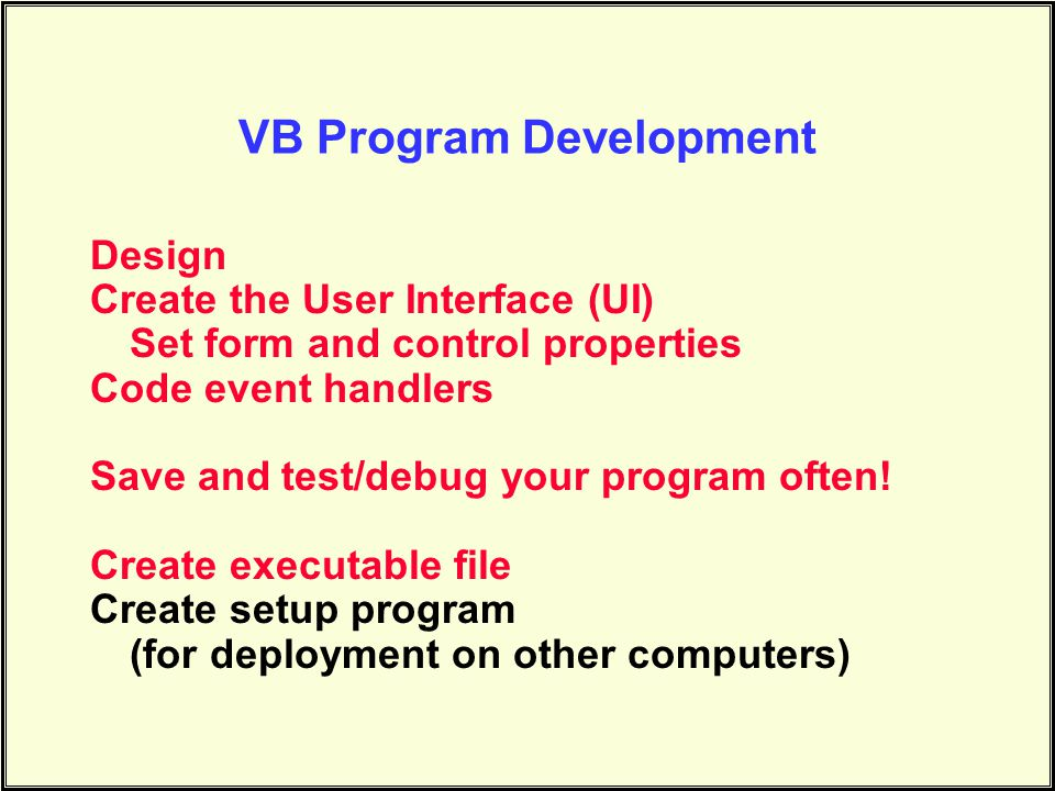 VB Program Development