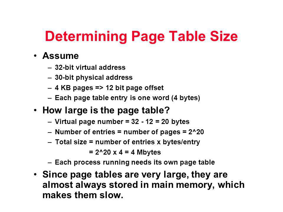 Determining Page Table Size