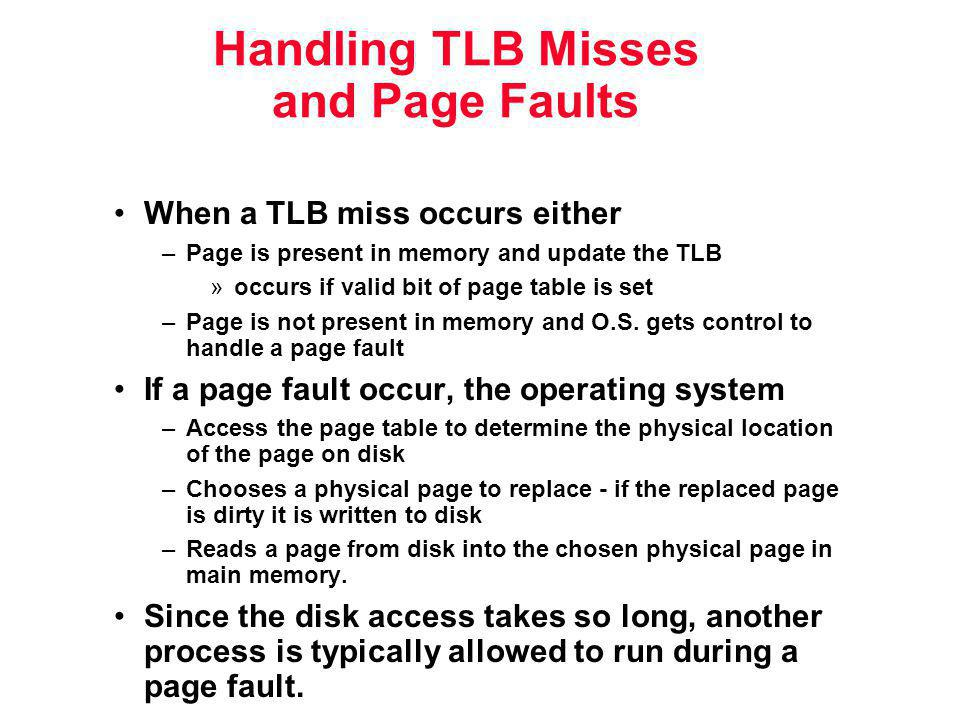 Handling TLB Misses and Page Faults