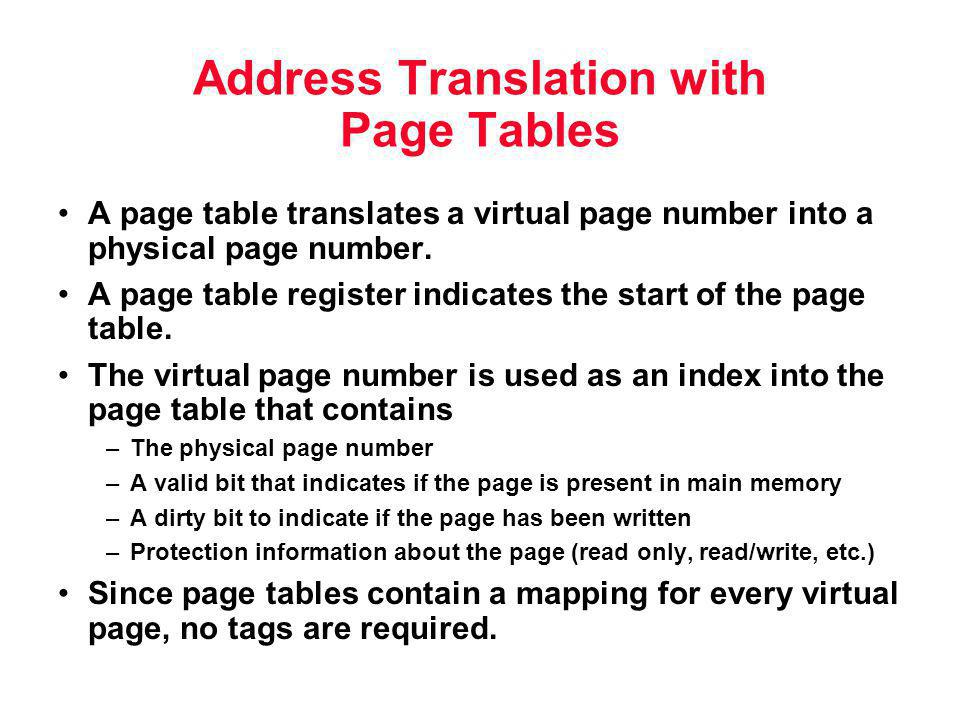 Address Translation with Page Tables