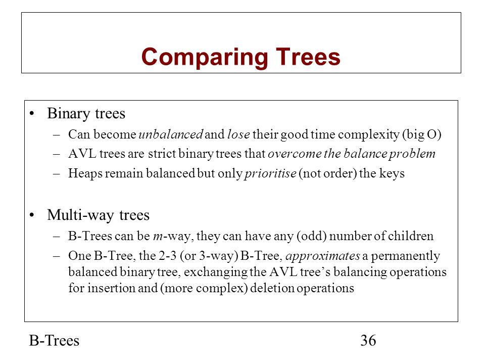 Comparing Trees Binary trees Multi-way trees B-Trees