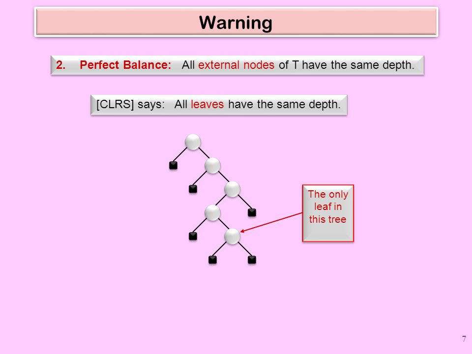 Warning Perfect Balance: All external nodes of T have the same depth.