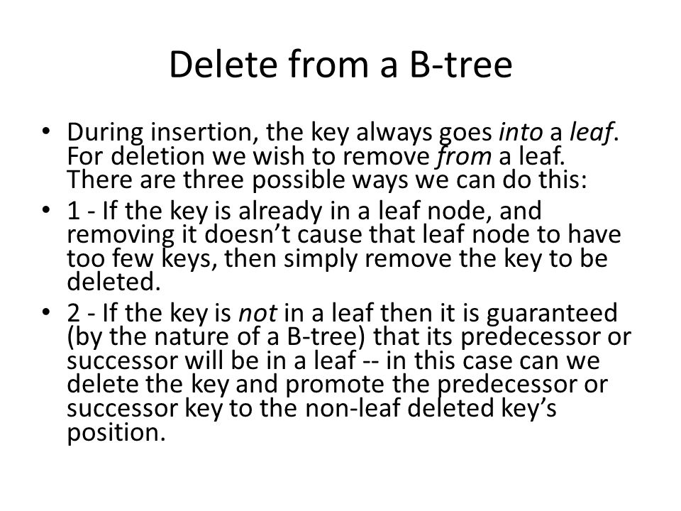 Delete from a B-tree