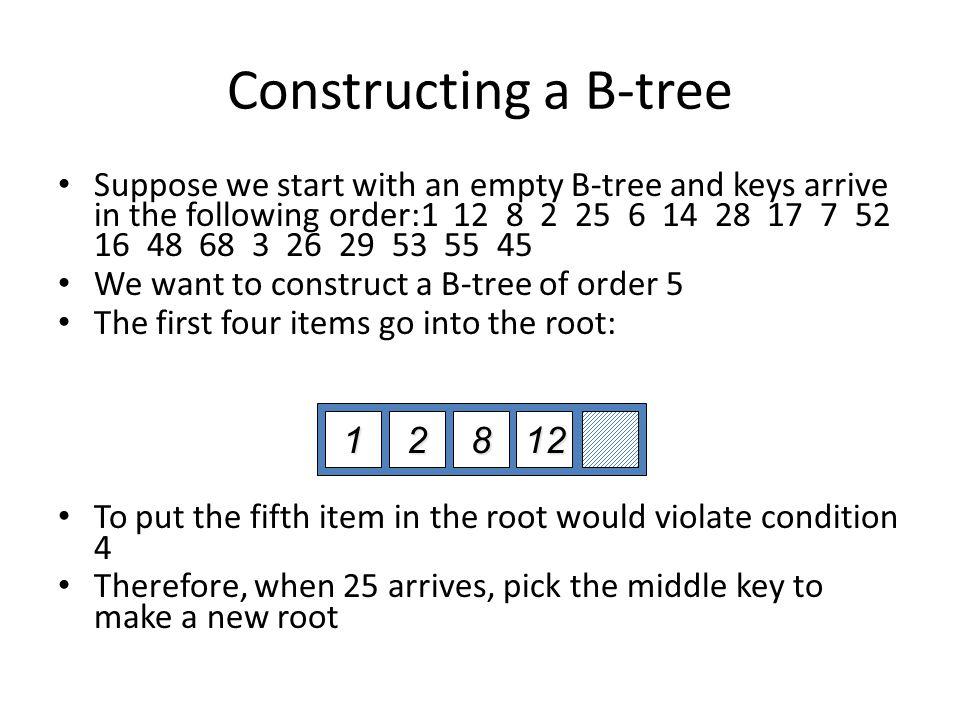 Constructing a B-tree