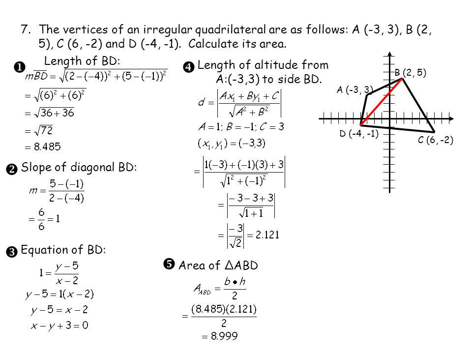 7. The vertices of an irregular quadrilateral are as follows: A (-3, 3), B (2, 5), C (6, -2) and D (-4, -1). Calculate its area.