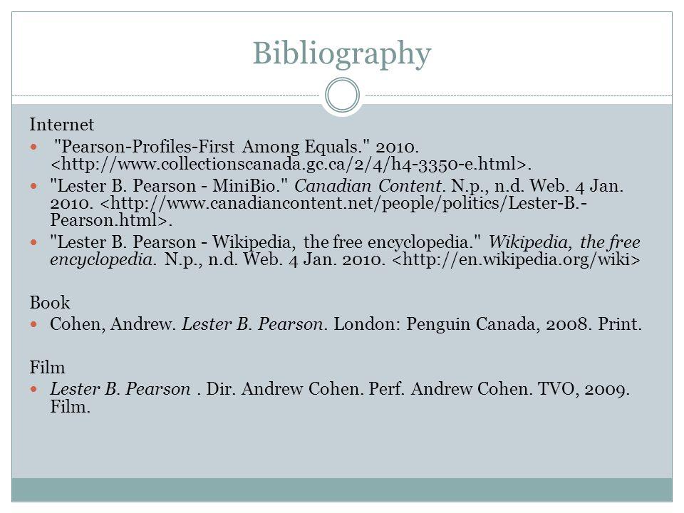 Bibliography Internet
