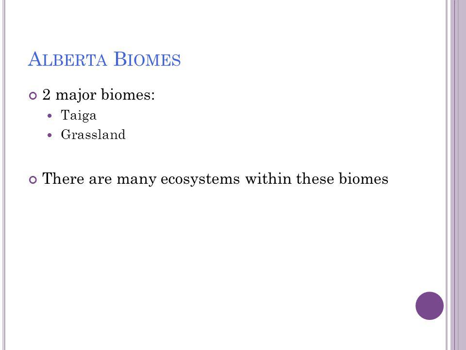 Alberta Biomes 2 major biomes: