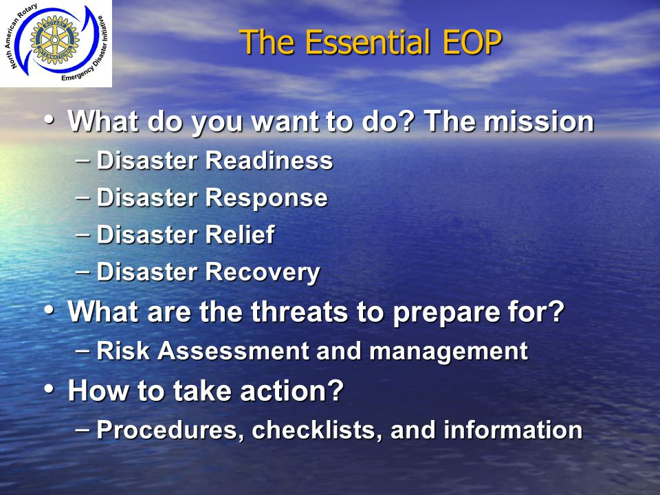 The Essential EOP What do you want to do The mission
