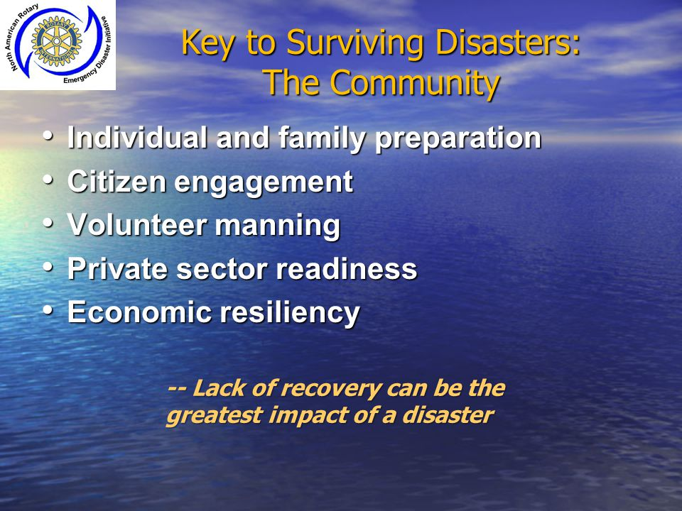 Key to Surviving Disasters: The Community