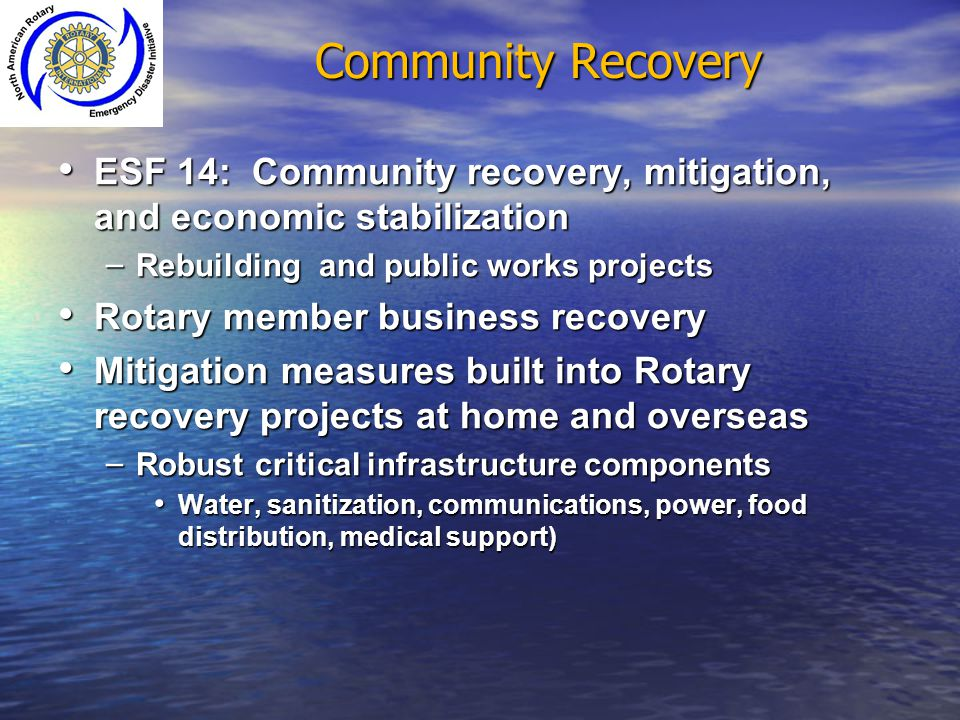 Community Recovery ESF 14: Community recovery, mitigation, and economic stabilization. Rebuilding and public works projects.