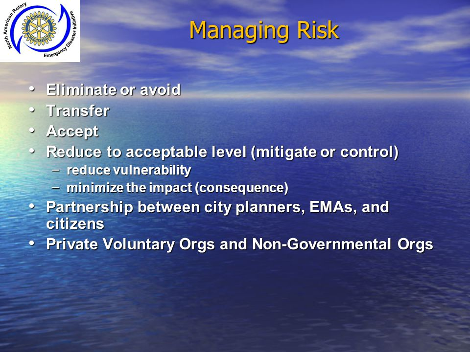 Managing Risk Eliminate or avoid Transfer Accept
