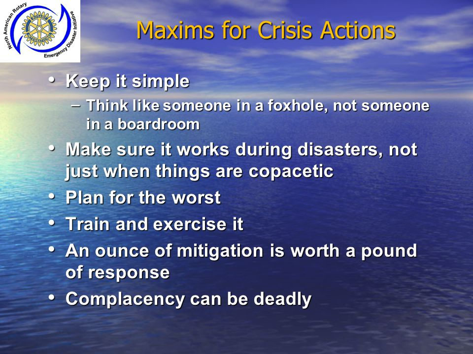 Maxims for Crisis Actions