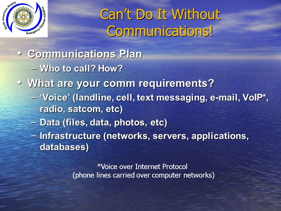 Can't Do It Without Communications!