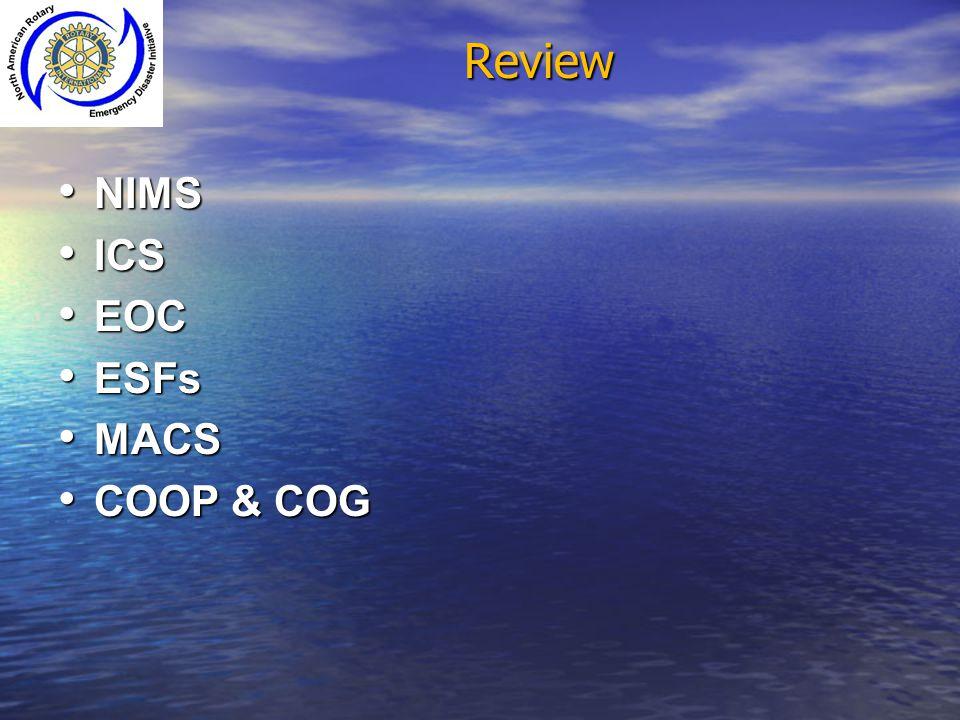Review NIMS ICS EOC ESFs MACS COOP & COG