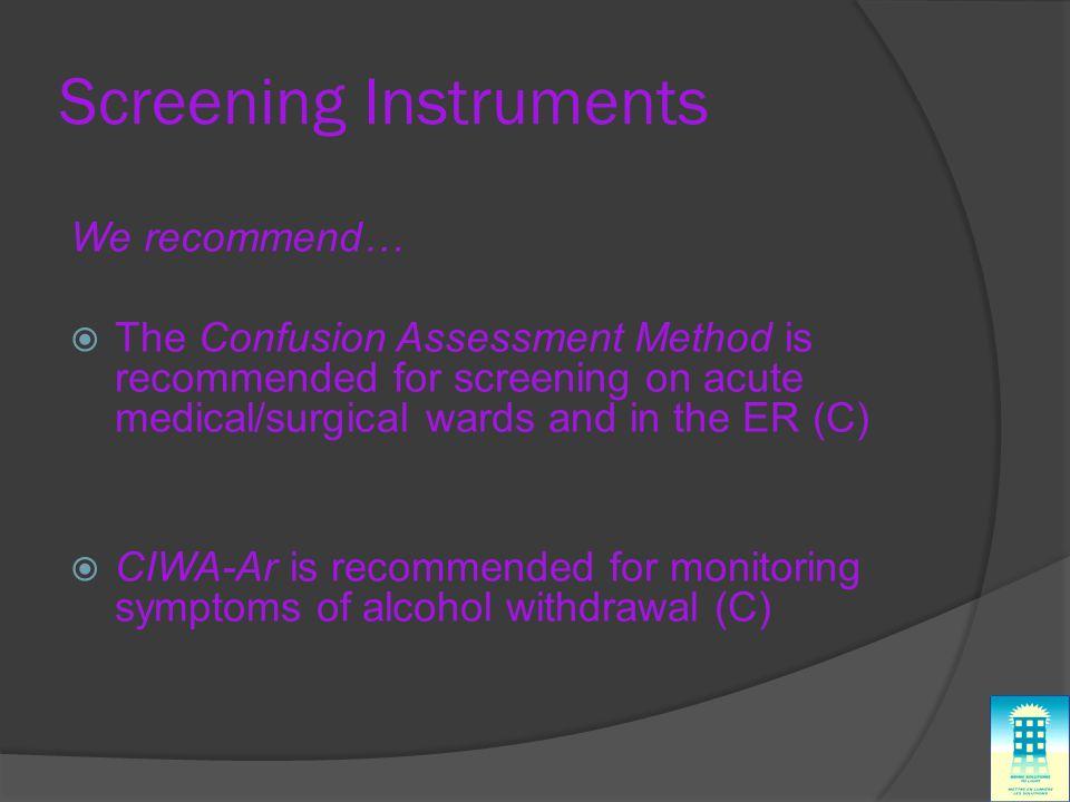 Screening Instruments
