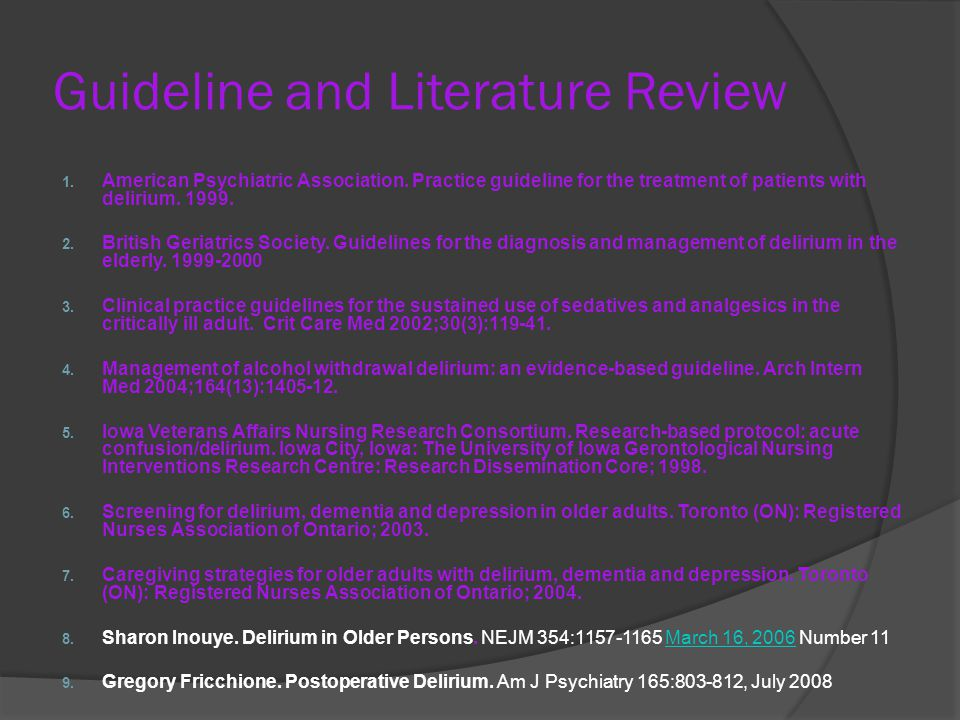 Guideline and Literature Review