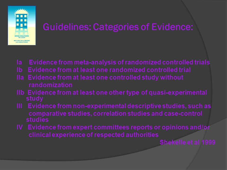 Guidelines: Categories of Evidence: