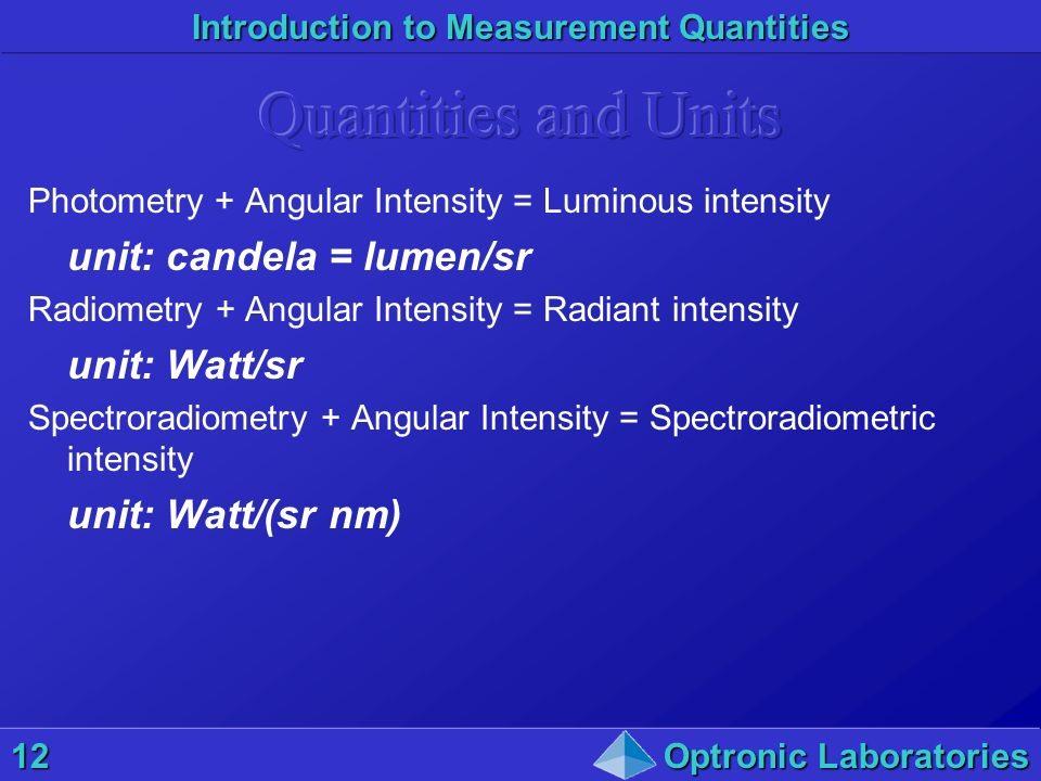 Quantities and Units unit: candela = lumen/sr unit: Watt/sr