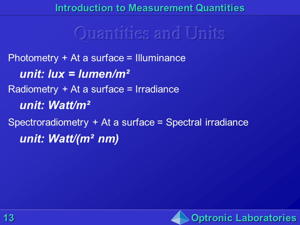Quantities and Units unit: lux = lumen/m² unit: Watt/m²