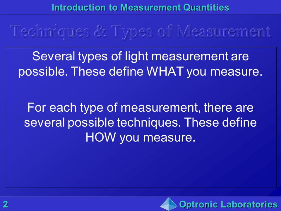 Techniques & Types of Measurement