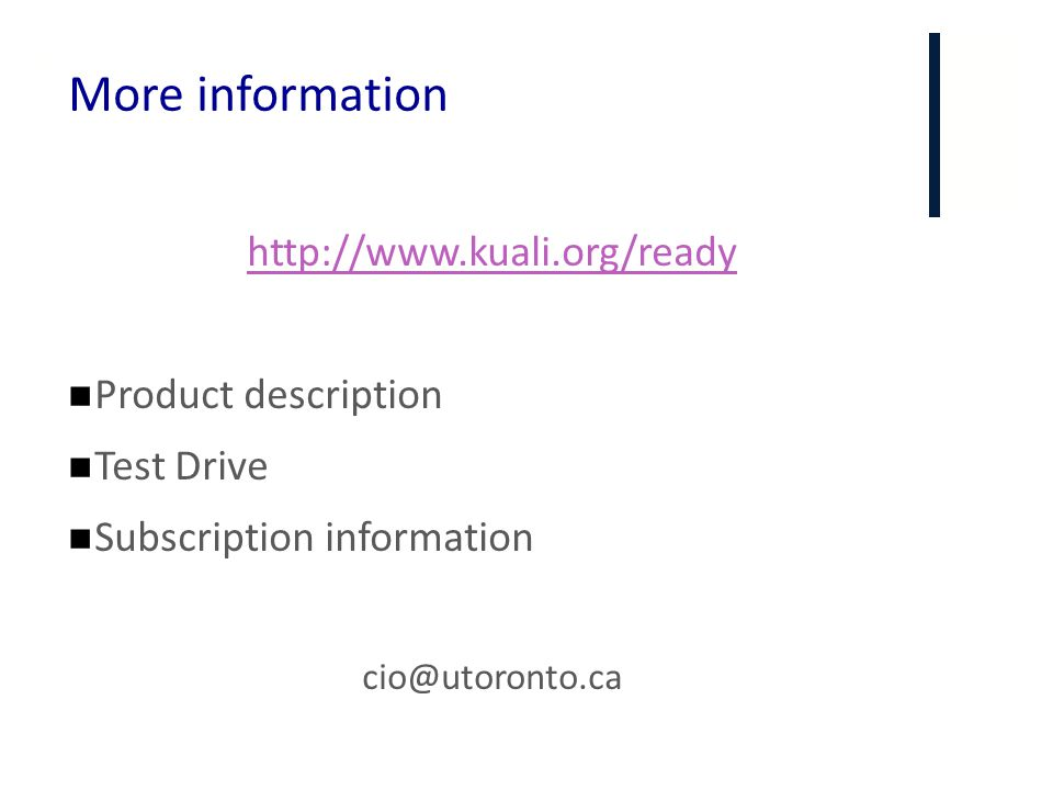 More information http://www.kuali.org/ready Product description