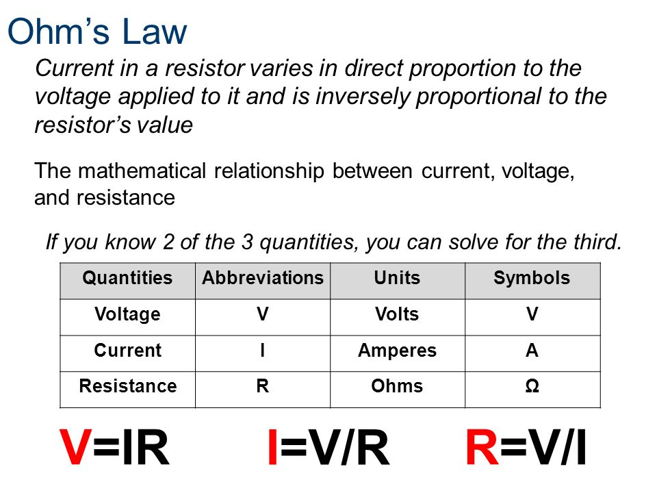 V=IR I=V/R R=V/I Ohm's Law