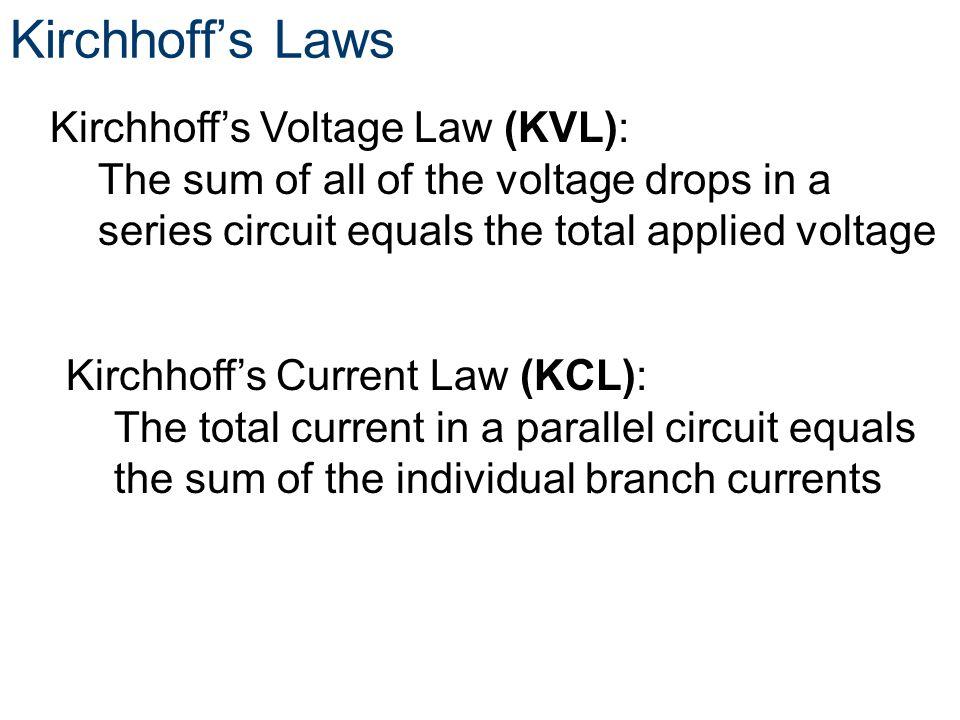 Kirchhoff's Laws Kirchhoff's Voltage Law (KVL):
