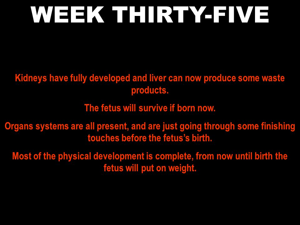 The fetus will survive if born now.