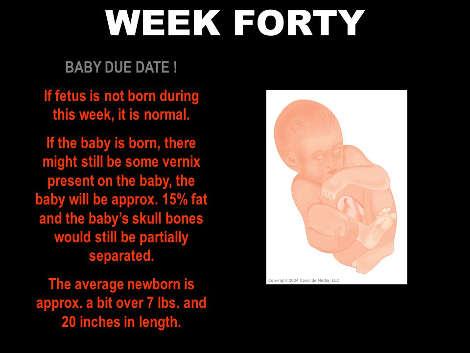 If fetus is not born during this week, it is normal.