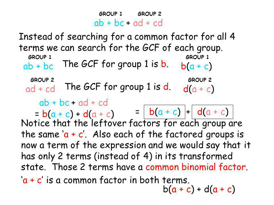 'a + c' is a common factor in both terms. b(a + c) + d(a + c)