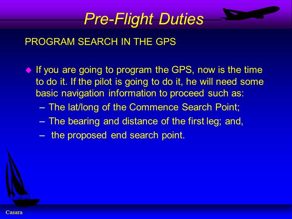 Pre-Flight Duties PROGRAM SEARCH IN THE GPS