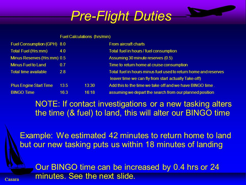 Pre-Flight Duties Fuel Calculations (hrs/min) Fuel Consumption (GPH) 8.0 From aircraft charts.