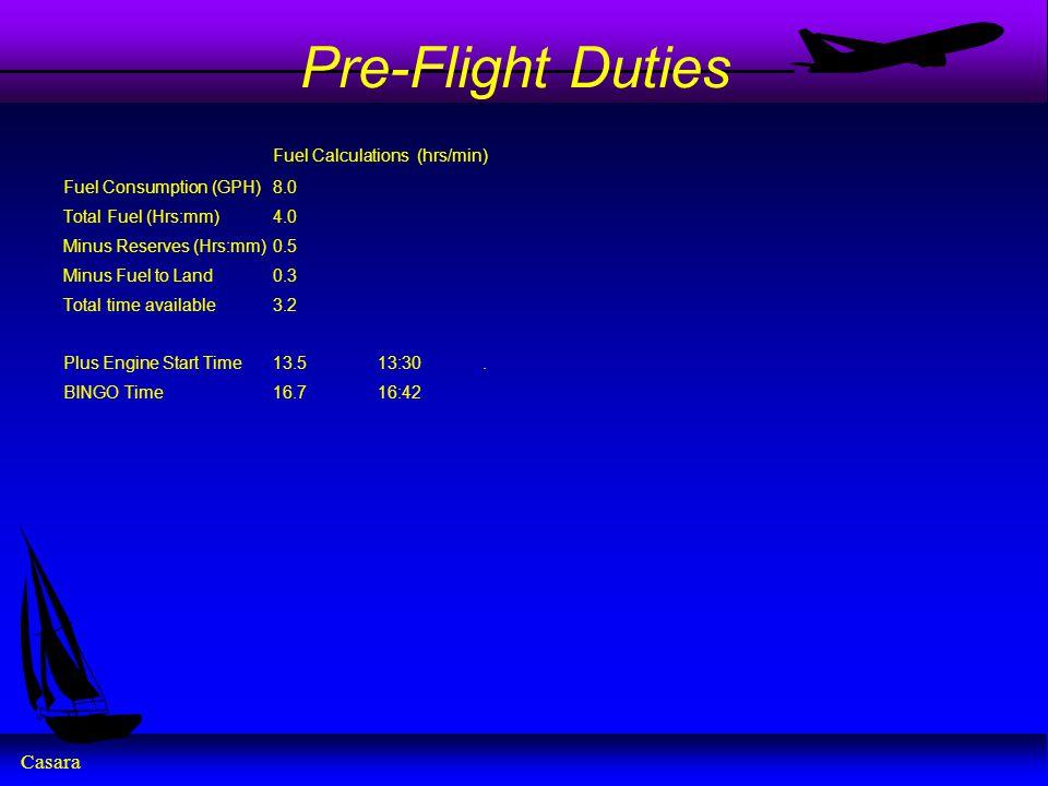 Pre-Flight Duties Fuel Calculations (hrs/min)
