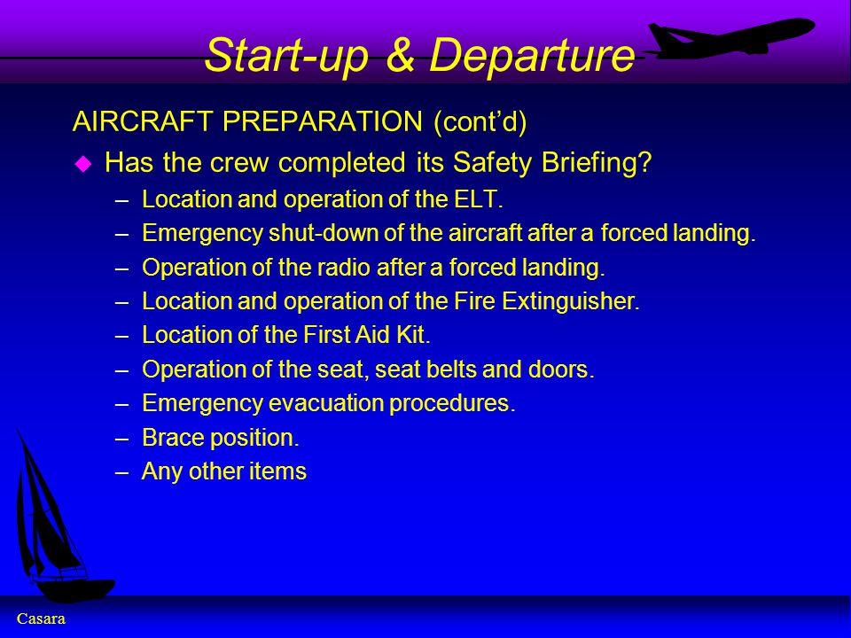 Start-up & Departure AIRCRAFT PREPARATION (cont'd)