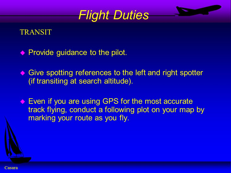 Flight Duties TRANSIT Provide guidance to the pilot.