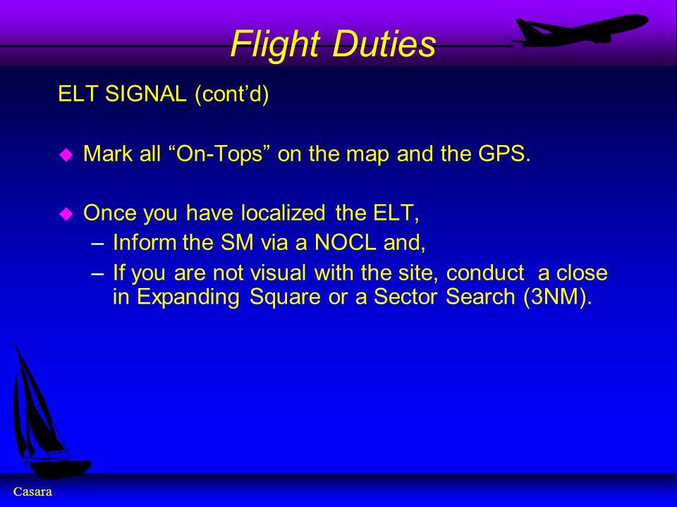 Flight Duties ELT SIGNAL (cont'd)