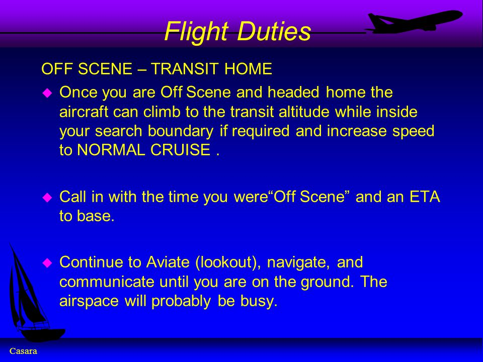 Flight Duties OFF SCENE – TRANSIT HOME