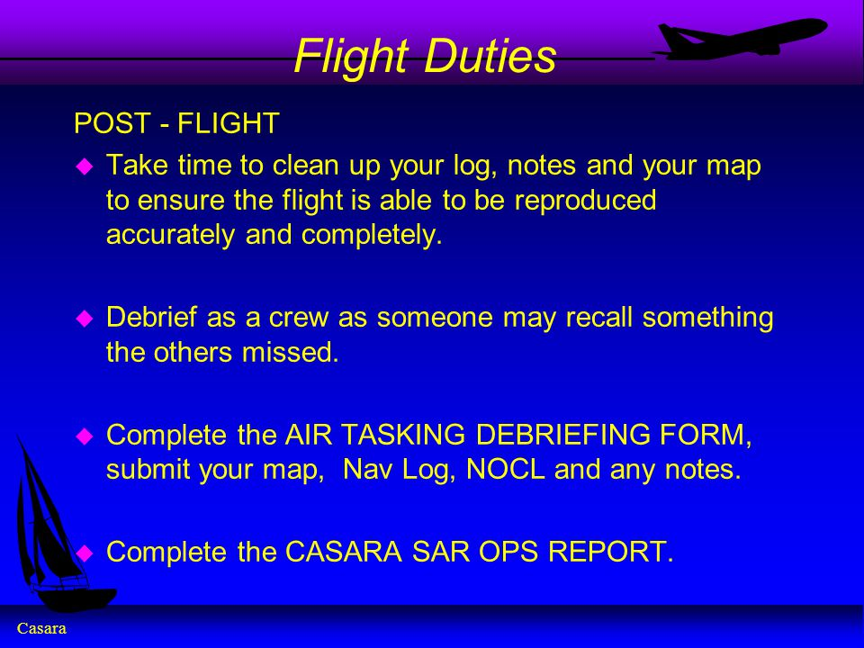 Flight Duties POST - FLIGHT