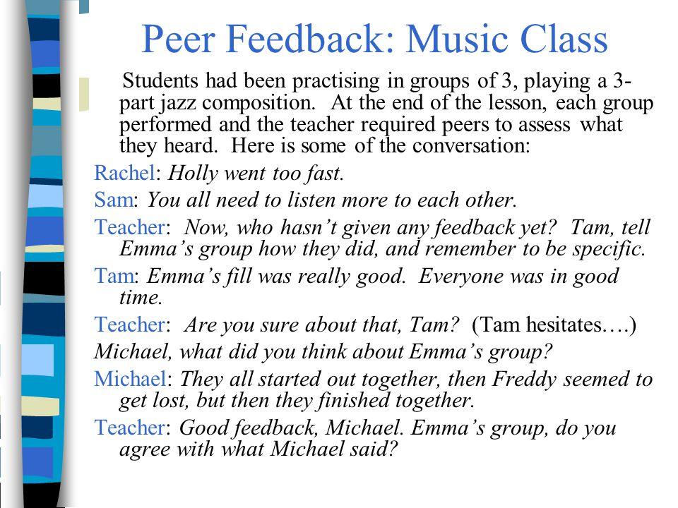 Peer Feedback: Music Class